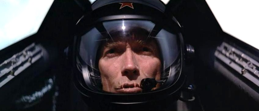 Controlling a plane by thought, not hands. Clint Eastwood in the movie Firefox. Photo via Google images.
