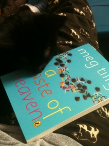 My kitten, Jack Bear, checking out the new book