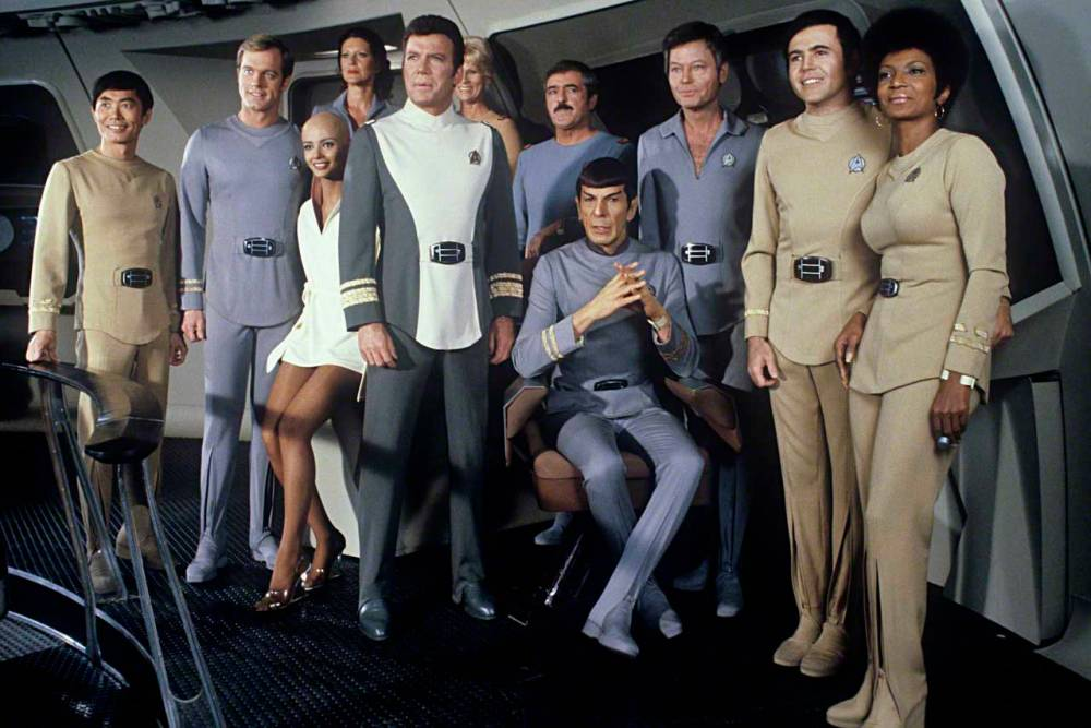 Cast members on set of Star Trek: The Motion Picture