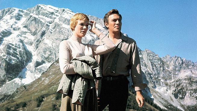 THE SOUND OF MUSIC, from left: Julie Andrews, Christopher Plummer, between scenes, on set, 1965. TM